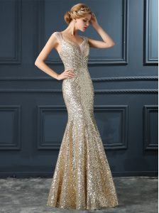 Mermaid Champagne Sequined Zipper V-neck Sleeveless Floor Length Prom Evening Gown Sequins