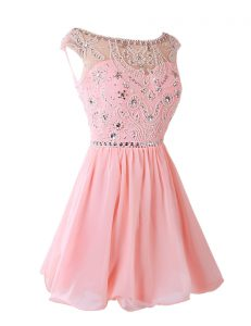 Pink Sleeveless Sashes ribbons Knee Length Prom Dresses
