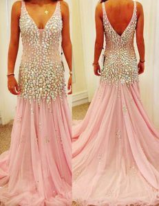 Mermaid V-neck Sleeveless Court Train Zipper Dress for Prom Pink Tulle