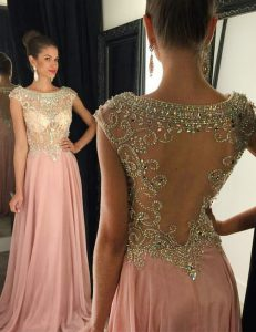 Pink Cap Sleeves Beading Side Zipper Prom Dress