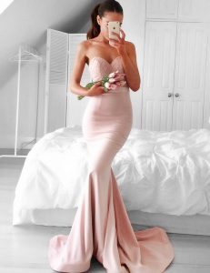 Chic Pink Mermaid Elastic Woven Satin Sweetheart Sleeveless Lace and Sashes ribbons With Train Zipper Prom Party Dress Brush Train
