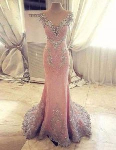 Mermaid Clasp Handle Sweetheart Cap Sleeves Prom Gown With Train Watteau Train Beading and Appliques Rose Pink Satin