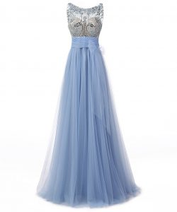 High Class Blue A-line Tulle Scoop Sleeveless Beading and Bowknot Floor Length Backless Prom Evening Gown