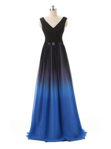 Custom Made Belt Prom Dress Blue And Black Zipper Sleeveless Floor Length