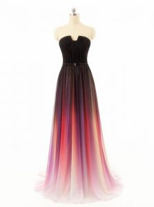 Top Selling Multi-color A-line Strapless Sleeveless Chiffon and Fading Color With Train Sweep Train Zipper Belt Prom Party Dress