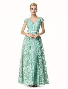 Lace Cap Sleeves Pleated Zipper Prom Dresses with Turquoise