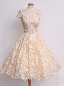 Colorful Peach V-neck Neckline Lace Prom Evening Gown Cap Sleeves Zipper