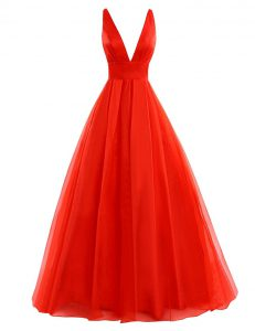 Flare Organza Sleeveless Prom Gown Brush Train and Pleated