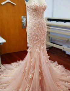 Mermaid Baby Pink Sleeveless Chapel Train Appliques With Train Prom Gown