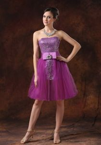 Strapless Eggplant Purple Short Senior Prom Dress with Paillette Online