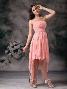 Strapless Side Zipper Peach Chiffon Prom Dress with Asymmetrical Hem