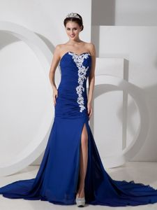 Wholesale Peacock Blue Chiffon Slitted Appliqued Prom Dress Clearance