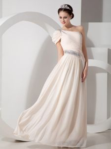 One Shoulder Champagne Maxi Prom Dresses with Beading in Lewis Center OH