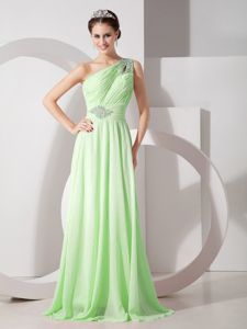 Ruched Beaded Yellow Green Chiffon Formal Prom Dress One Shoulder