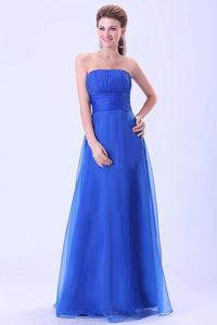 Classic Strapless Floor-length Blue Formal Prom Dress for a Cheap Price