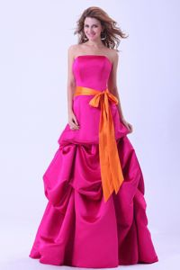 Noble Strapless A-line Hot Pink Formal Prom Dress with Pick-ups and Sash