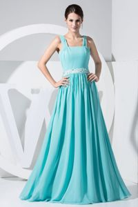 Exclusive Straps Chiffon Maxi Dresses for Prom in Aqua Blue in London USA