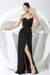 Halter Black Slitted Long Prom Dresses for Summer with Cut Out Waist
