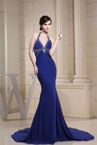 Fabulous Halter Beaded Mermaid Formal Prom Gowns in Big Discount