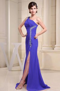 Discount One Shoulder Slitted Beaded Blue Formal Prom Gowns Patterns