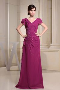 Exclusive Beaded Burgundy Long Prom Outfits with V-neck and Short Sleeves