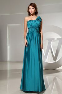 Impressive One Shoulder Ruched Teal Maxi Prom Dress with Handmade Flowers