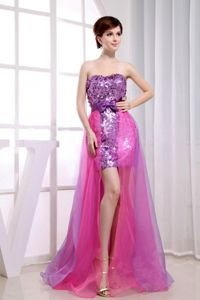 Special Sequin Organza Two-Toned High-low Prom Dresses Fast Shipping
