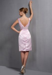 V-neck Taffeta Baby Pink Short Prom Dresses with Appliques under 150