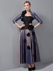 Simple Ankle-length Black and Purple Prom Dress with Handmade Flowers