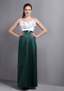 Spaghetti Straps White and Dark Green Long Prom Dress with Ruffles on Bodice