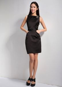 Perfect Satin Bateau Neck Mini-length Black Prom Dress in Miamisburg OH