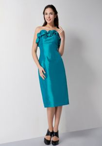Plus Size Teal Tea-length Taffeta Prom Outfits for Ladies Free Shipping