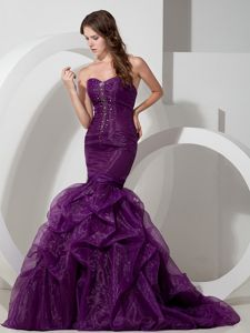Turn Heads Organza Lace-up Mermaid Formal Prom Dress in Purple with Beads