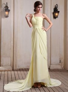 Perfect Yellow Green Court Train Ruched Formal Prom Gowns on Sale