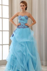 Aqua Blue Appliqued A-line Formal Prom Dress for Summer Free Shipping