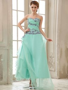 Impressive A-line Appliqued Apple Green Prom Dress with Asymmetrical Hem
