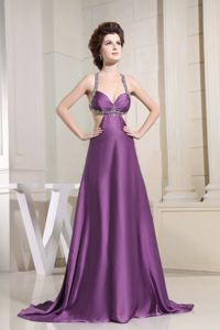 Sexy Purple Beaded Brush Train Dresses for Formal Prom with Crisscross