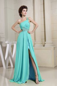 Spring Green Beaded Single Shoulder High Slit Semi-formal Prom Dresses