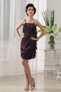 Dark Purple Mini-length Semi-formal Prom Dresses with Straps and Layers