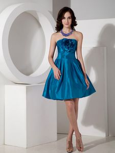 Hot Sale Teal Strapless Mini-length Semi-formal Prom Dresses with Flower