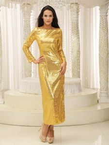 Special Gold Bateau Long Sleeves Paillette Over Skirt Formal Prom Dresses
