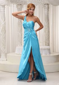 Elegant Aqua blue One Shoulder High Slit Ruched Semi-formal Prom Dress