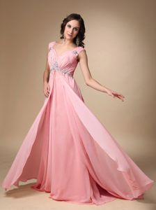 Backless Peach Pink Beaded Floor-length Formal Prom Dresses with Straps