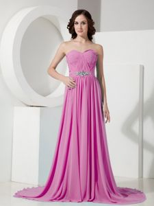 Low Back Rose Pink Ruched Brush Train Senior Prom Dresses with Beading