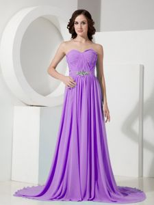 Lilac Ruched Sweetheart Brush Train Dress for Prom with Beading in Indiana