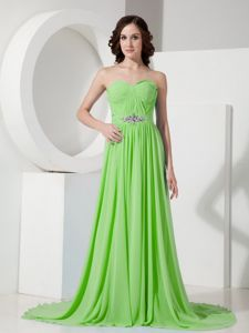 Spring Green Ruche Sweetheart Court Train Prom Gown Dress in Burlington