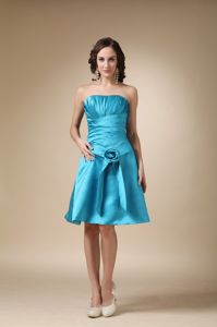 Low Price Turquoise Strapless Knee-length Senior Prom Dress with Flowers