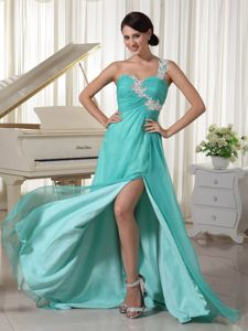 Sexy Turquoise One Shoulder High Slit Formal Prom Dress with Appliques