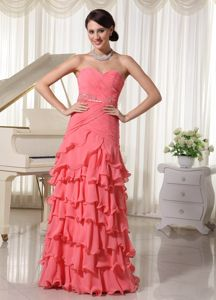 Sweetheart Watermelon Red Beaded Long Senior Prom Dress with Ruffles
