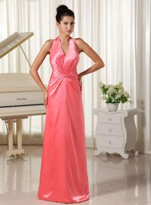 Backless Halter Watermelon Ruched Floor-length Dress for Formal Prom